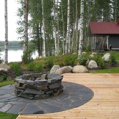 Huvila&Huussi -tulisijan rakennustarvikkeet :: Sulokivi Terrace, Cottage, Fire, Patio, Island, Outdoor Decor, Summer, House, Decks