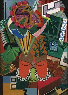 'Nature Morte au Pots de Fleurs' by Auguste Herbin. The asymmetry in this piece seems a little chaotic to me. I find my eye being guided but it's catching attention all over with constant detailed abstracts. Auguste Herbin, Illustration Blume, Cubism Art, Georges Braque, Action Painting, Post Impressionism, French Artists, Illustrations, Oeuvre D'art