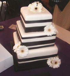 Modern Black White Square Wedding Cakes Photos & Pictures - WeddingWire.com