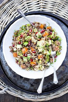 Quinoa and Brussels Sprout Salad with Roasted Butternut Squash, Cauliflower, Avocado and Pomegranate | www.floatingkitchen.net