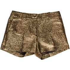 Pre-owned Michael Kors Metallic Mini Shorts ($85) ❤ liked on Polyvore featuring shorts, gold, hot pants, short shorts, metallic shorts, metallic gold shorts and mini shorts