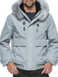 Andrew Marc Men's Fur Long Sleeve Anorak - Grey, Size xx-large