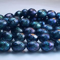 Huge Oval Faceted Pearl Beads 10 pcs Navy Blue by royalmetals, $13.95