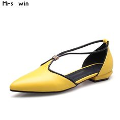 37.59$  Buy now - http://ali8tj.shopchina.info/1/go.php?t=32806201126 - 2017 New british style Women Shoes poined toe women flats fashion flat shoes woman yellow green summer shoes  #magazineonline