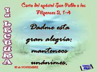 Lecturas y Liturgia del 3 de Noviembre de 2014  Filipenses (2,1-4) Salmo Sal 130,1.2.3 Lucas (14,12-14)