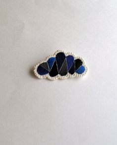 Dark cloud geometric brooch hand embroidered by AnAstridEndeavor, $25.00