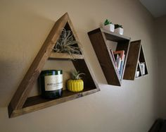 Shelf Pentagon Wall Shelf Geometric Wall by HoneyBadgerCustoms