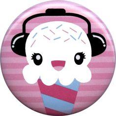 Ice Cream Headphones Button $1.99