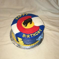 Colorado flag birthday cake by Inphinity Designs. Please visit my FB page Inphinity Designs at https://m.facebook.com/profile.php?id=71791500352&refsrc=https%3A%2F%2Fwww.facebook.com%2Fpages%2FInphinity-Designs%2F71791500352
