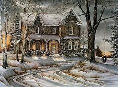 Trisha Romance, Romance Art, Winter Painting, Winter Art, Winter Snow, Thomas Kinkade, Winter Pictures, Christmas Pictures, Dream Pictures