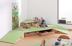 Building Platforms Carpet Step Corner Platform (A) by HABA, Church Nursery, Nursery Room, Micro Creche, Kindergarten Interior, Rolling Drawers, Infant Classroom, Kids Library, Home Daycare, Maila