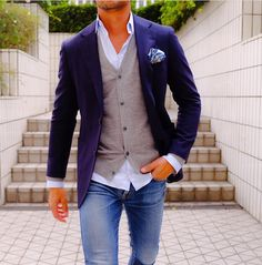 Little Boy Fashion Mode Outfits, Casual Outfits, Men Casual, Fashion Outfits, Mode Man, Look Blazer, Herren Outfit, Light Blue Shirts, Mens Fashion Suits