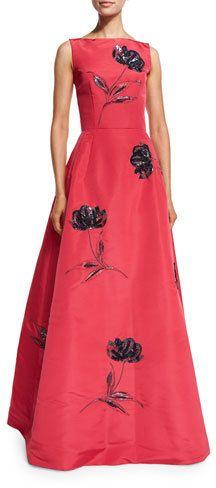 Oscar de la Renta Bateau-Neck Floral-Sequin Gown, Pink/Navy  https://api.shopstyle.com/action/apiVisitRetailer?id=601306264&pid=uid2500-37484350-28