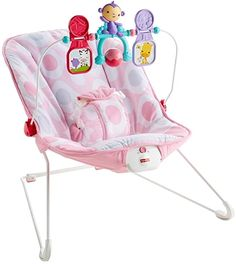 Amazon.com : Fisher-Price Deluxe Bouncer: Pink Ellipse : Baby Fisher Price, Baby Bouncers And Jumpers, Best Baby Bouncer, Baby Rocker, Canada, Baby Swings, Square, Baby Store, Seat Pads