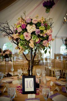Flirty Fleurs - Tall flower centerpiece for weddings