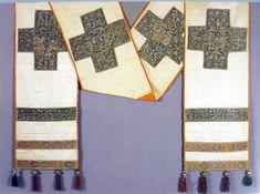 Омофор, XVI в, Гора Афон. внизу арабская вязь, в древности изготовлялся исключительно из белой шерсти (овца на плечах, которую несет Пастырь)