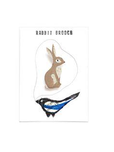 Rabbit Brooch, Bunny, Hand Painted, Hand cut, Animal Illustration, Badge, pin, Nature, Brown, Grey, White, Uk