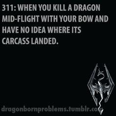 Skyrim Problems. Dead dragon landed, uuummm…Where did it land!?