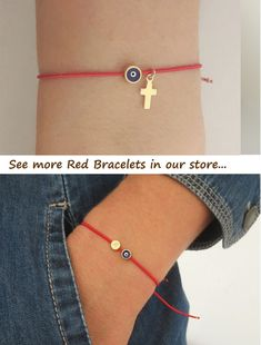 Red String Evil Eye Bracelet, Red Kabbalah Bracelet, Evil Eye Red Bracelet for Men jewelry / – Diy Bracelets İdeas. Simple Bracelets, Bracelets For Men, Handmade Bracelets, Evil Eye Jewelry, Evil Eye Bracelet, Beaded Jewelry, Beaded Bracelets, Red String Bracelet, Metal Beads