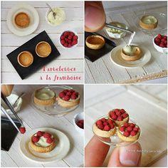 Miniature raspberry tarts. #miniature #raspberry #frenchfood #patisserie #handmade #dollhouse #fimo