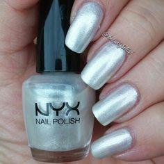 A swatch of Venetian Glass by #nyxcosmetics #nyx #nyxnailpolish #pearl #swatch #nails