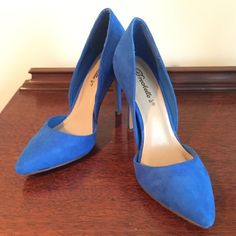 "NEVER WORN Blue Faux Suede d'Orsay Heels These cobalt blue faux suede shoes with pointy toe and d'Orsay sides are a perfect punch of color to any outfit. These have NEVER BEEN WORN. 4"" heel height. ❤️Please feel free to make an offer❤️ Breckelles Shoes Heels"