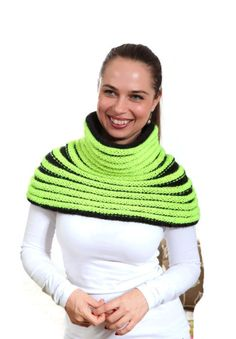 Hand Knit Cape Neon on Black Tribal Inspired Cowl with by Solandia
