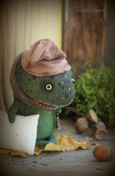 Autumn dreams lizard stuffed toy doll artist by IrinaSTextileheart