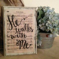 For Dad In the Garden Hymn Board by ImperfectDust on Etsy Cute Picture Frames, Picture Frame Crafts, Christian Decor, Christian Gifts, In The Garden Hymn, Hymn Art, Wood Crafts, Diy Crafts, Primitive Crafts