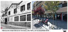 Fabrica de cristal obrera la Torrassa. Estaba en la calle Llobregat con Montseny, año 1972 y en la actualidad 2016.