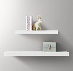 Floating Wood Shelf - White
