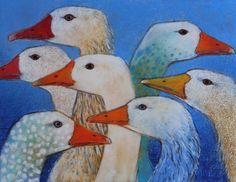 Loes Botman, Geese, Pastel, 2017, 34x42 cm