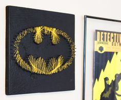 Batman String Art Wall hanging by halftonehandicrafts on Etsy, $35.00