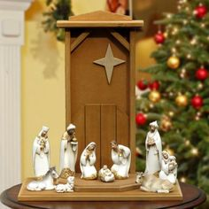 "Damask Nativity Set 7.5"" 10 pc. w/Stable from Joseph's Studio $199.00 This elegant Nativity scene in Joseph's Studio contemporary style is complimented with a lovely hand made wood stable. Fine details and beautiful facial features. http://www.christmasnightinc.com/c49/c50/Damask-Nativity-Set-75-10-pc-w-Stable-from-Josephs-Studio-p1317.html#"