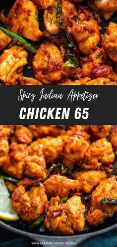Delicious chicken 65, a spicy indian appetizer recipe made with chicken in a spicy sauce. Easy South Indian recipe for perfect chicken 65 #chicken #indochinese #appetiser #snack #delicious #chicken65