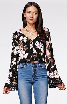 Kendall and Kylie Bell Sleeve Button Top at PacSun.com