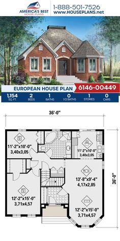 Full of European details, Plan 6146-00449 delivers 1,154 sq. ft., 2 bedrooms, 1 bathrooms, and an open floor plan. #architecture #houseplans #housedesign #homedesign #homedesigns #architecturalplans #newconstruction #floorplans #dreamhome #dreamhouseplans #abhouseplans #besthouseplans #newhome #newhouse #homesweethome #buildingahome #buildahome #residentialplans #residentialhome European Plan, European House Plans, Best House Plans, Dream House Plans, Building Section, Building A House, Floor Plan Drawing, Cost To Build, Construction Cost