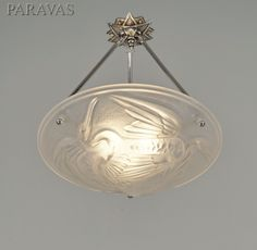 "P.GILLES & NOVERDY : 1930 French art deco chandelier ""The Storks"". (paravas - ebay)"