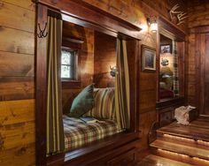 Traditional Bedroom Log Homes Design...perfect for the grandkids or company.