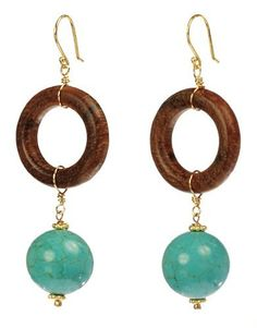 Earring Design Ideas additional resources view additional angel earring design ideas Vermeil Wood Ring And Turquoise Bead Drop Wire Earrings Amazon Curated Collection Httpwwwamazoncomdpb0056er5eerefcm_sw_r_pi_dp_mmbsqb1dd0ny5