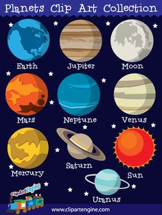 The royalty free vector graphics included are Mars, Saturn, Mercury, Uranus, Neptune, Jupiter, Venus, Earth, Moon, and the Sun.