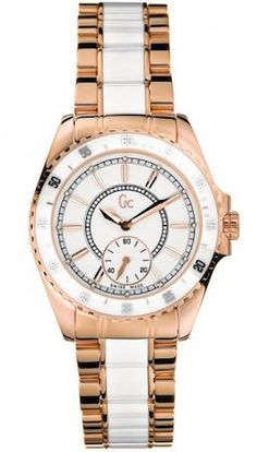 Guess Collection GC White Dial Two Tone Stainless Women's Watch Elegant Watches, Sports Women, Gold Watch, Chronograph, Rolex Watches, Luxury, Shopping, Collection, Romania
