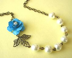 Pearl Necklace Turquoise Jewelry Flower Necklace Leaf by zafirenia, $33.00