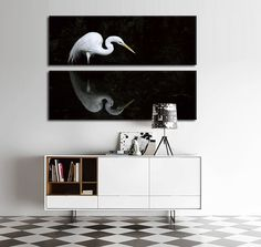 2 Pcs Morden Home Decoration Wall Art canvas printed painting Black and White bird picture For Living Room Bedroom Wall decor