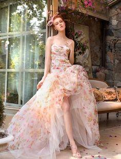 floral pink high low wedding dress