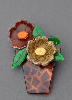 LEA STEIN FLOWER POT BROOCH