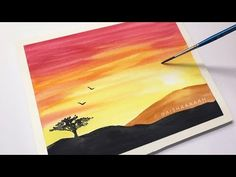 Easy Watercolor Sunset Tutorial for Beginners Step By Step Easy Nature Paintings, Watercolor Paintings Nature, Watercolor Paintings For Beginners, Scenery Paintings, Watercolor Art Diy, Watercolor Sunset, Watercolour Tutorials, Simple Watercolor, Watercolor Pencils