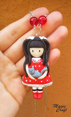 Doll necklace with cat in fimo-Gorgeous Doll with cat necklace-Polymer clay