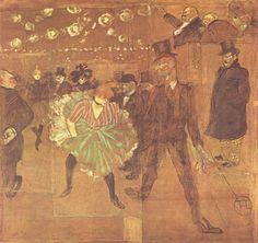 Henri de Toulouse-Lautrec.  Ball im Moulin Rouge (La Goulue uns Valintin-le-Désossé). 1895, Öl auf Leinwand, 298 × 316 cm. Paris, Musée d'Orsay. Genremalerei. Frankreich. Postimpressionismus.  KO 02204