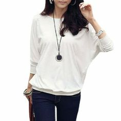 Women Round Neck Mesh Decor Sleeve Autumn Loose Shirt #shirt #loose #sleeve #fashion #allegrak